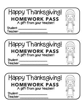 """""""Thanksgiving"""" Pilgrim Girl - Homework Pass –Holiday FUN! (black line version)"""