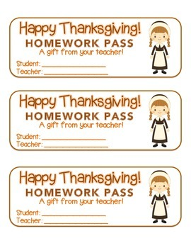 """Thanksgiving"" Pilgrim Girl - Homework Pass –Holiday FUN! (color & black line)"