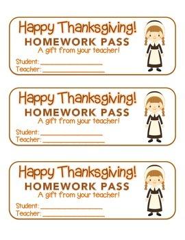"""Thanksgiving"" Pilgrim Girl - Homework Pass – Holiday FUN! (full color version)"