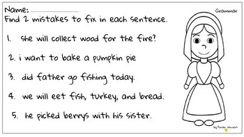 Thanksgiving Pilgrim Grammar Language Conventions Printable FREE