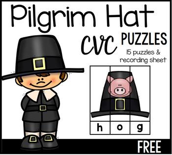 Thanksgiving Pilgrim Hat CVC Puzzles