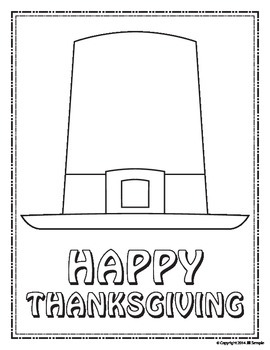 Thanksgiving Pilgrim Hat - Finish the Picture (Symmetry) & Coloring Sheet