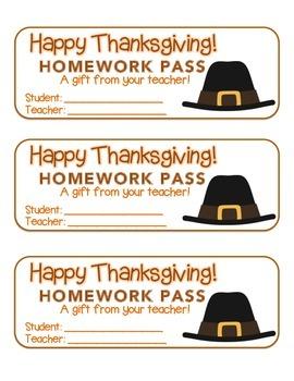 """Thanksgiving"" Pilgrim Hat - Homework Pass – Holiday FUN! (full color)"
