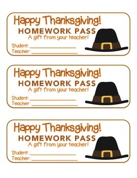 """Thanksgiving"" Pilgrim Hat - Homework Pass – Holiday FUN! (full color)"