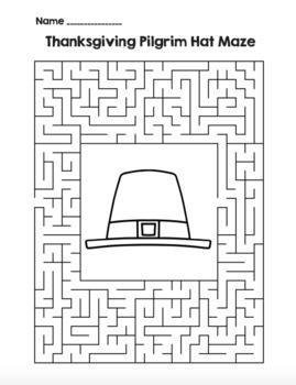Thanksgiving Pilgrim Hat Maze! Thanksgiving Maze FUN! (Color & Black Line)