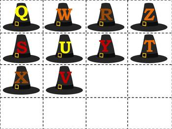 Thanksgiving Pilgrim Hats and ABC Ordering
