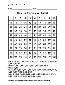Thanksgiving - Pilgrim - Hundreds Chart!