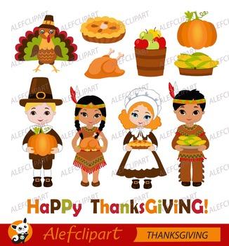 Thanksgiving Pilgrim Kids Digital Clipart.Happy Thanksgiving.