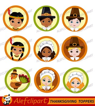 Thanksgiving Pilgrim Kids Digital Clipart PRINTABLE cupcake toppers