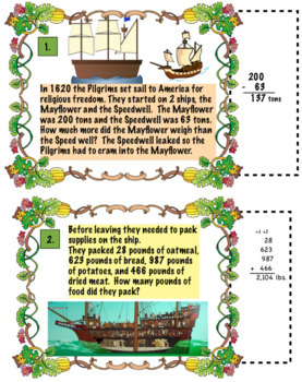 Thanksgiving Pilgrim Math Word Problems For 3rd Grade: Common Core Aligned