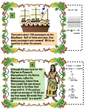 Thanksgiving Pilgrim Math Word Problems For 4th Grade: Common Core Aligned