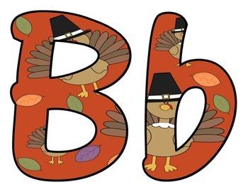 Thanksgiving Pilgrim Turkey BB Letters