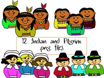 Thanksgiving Pilgrim and Indian Clipart Pack by Learning 4 Keeps Design!