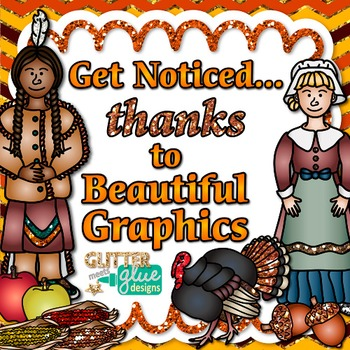 First Thanksgiving Clip Art {Pilgrim & Native Americans Graphics}