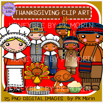 Thanksgiving Pilgrims & Wampanoag Clip Art