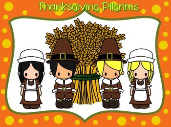 Thanksgiving Pilgrims- blond and black hair with Wheat Bundle