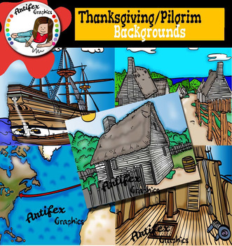 Thanksgiving: Pilgrim life backgrounds clip art