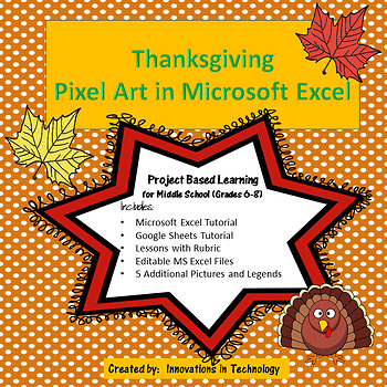 thanksgiving pixel art in microsoft excel or google sheets tpt
