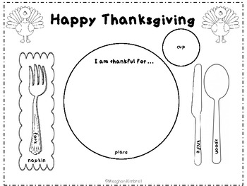 Thanksgiving Place Setting Placemat by Meaghan Kimbrell | TpT
