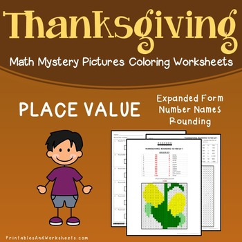 Thanksgiving Place Value Centers Coloring Worksheets