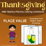 Thanksgiving Place Value Activity Mystery Picture Color By Number Math Worksheet