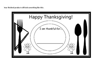 Thanksgiving Place mat Following Directions