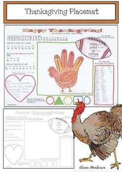 Free Thanksgiving Placemat