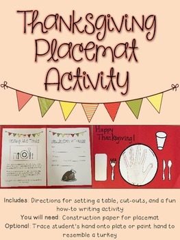 Thanksgiving Placemat Activity