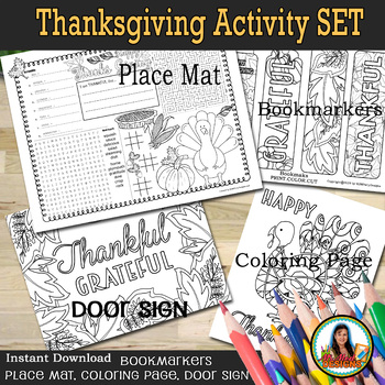 Thanksgiving Activity Set of 4 Pages, Printable Kids Coloring Placemat