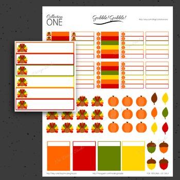 Thanksgiving Planner Stickers - Printable Planner Stickers, Teacher