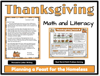 Thanksgiving- Planning a Feast for the Homeless, Math and Literacy Connection