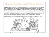 Thanksgiving Plate Descriptive Writing