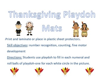 Thanksgiving Playdoh Mats Numbers 1-5