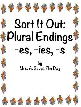 Thanksgiving Plural Endings Sort