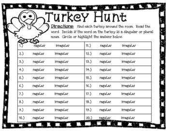 Thanksgiving Plural Noun Hunt