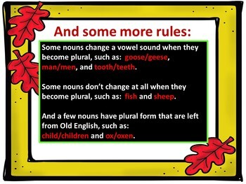 Thanksgiving Plural Nouns - Spelling Rules and Quiz