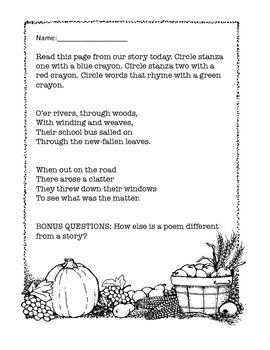Thanksgiving Poem Features Activity