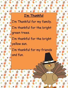 Thanksgiving Poem- I'm Thankful
