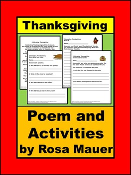 Thanksgiving Poem Reading Comprehension and Writing Packet