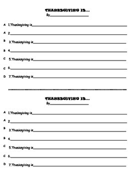 Thanksgiving Poem- Template, Example, Publishing Ideas