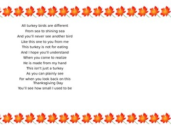 Thanksgiving Poem- Turkey Handprint