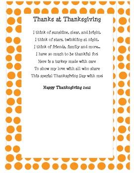 Thanksgiving Poem Turkey Handprint Craftivity