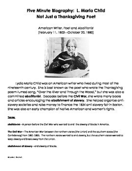 Thanksgiving Poem with 5 Minute Biography of L. Maria Child