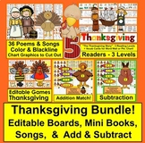 Thanksgiving BUNDLE: Mini Books, Editable Games, Songs, Add & Subtract!