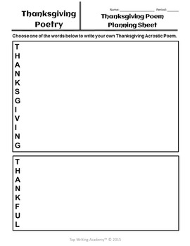 Thanksgiving Activities Poetry Analysis & Acrostic Poem Writing (No Prep)