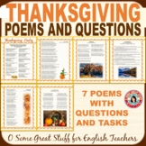 Thanksgiving Poetry and Activities with Beautiful Graphics and Answer Key
