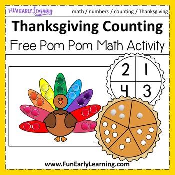 Thanksgiving Pom Pom Counting - FREE Printable