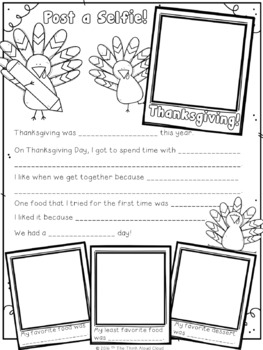 After Thanksgiving Writing Activity ~ Post a Selfie! {Craftivity}