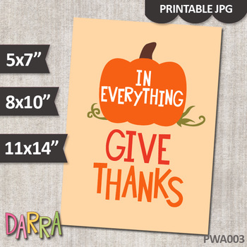 Thanksgiving Poster (In Everything Give Thanks) Printable Wall Art