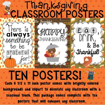 Thanksgiving Poster Set for the Classroom